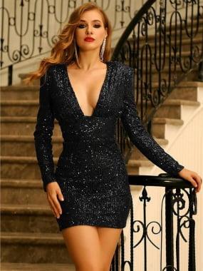 Vestido festa glamuor gola V,  costas nua, preto