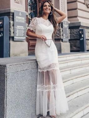 Vestido romântico noiva renda com zíper, manga princesa delicada