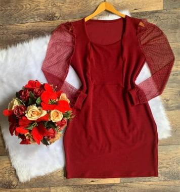 Vestido Plus Size, crepe de malha, com tule, T.único (46/52), Marsala