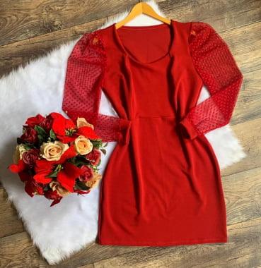 Vestido Plus Size, crepe de malha, com tule, T.único (46/52), Vermelho