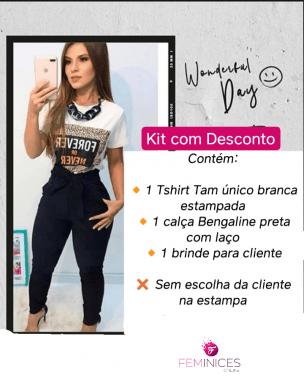COMBO: LOOK COM  T-SHIRT + CALÇA BENGALINE